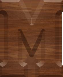 5 inch wood letter m mu